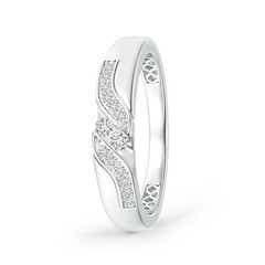 Diagonal Grooved Diamond Two Stone Wedding Band