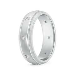 Princess Diamond Low Dome Comfort Fit Wedding Band for Him