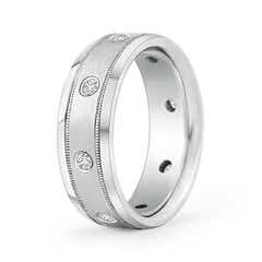 Gypsy Set Men's Diamond Wedding Band with Milgrain Edges