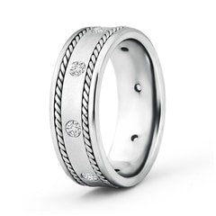 Rope Edged Gypsy Set Men's Diamond Wedding Band