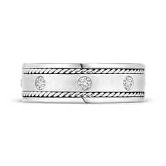 Toggle Rope Edged Gypsy Set Men's Diamond Wedding Band
