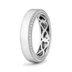 Inside Heart Pattern Men's Diamond Wedding Band