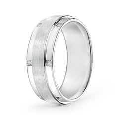 Satin Finish Pave Set Men's Diamond Wedding Band
