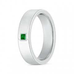 Gypsy Set Square Emerald Solitaire Wedding Band for Men