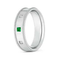 Square Emerald and Diamond 3 Stone Wedding Band for Men