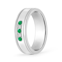 Round Emerald and Diamond Five Stone Grooved Wedding Band