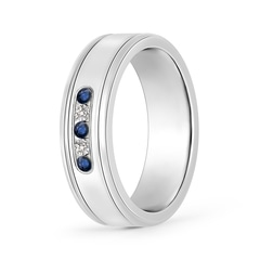 Round Blue Sapphire and Diamond Five Stone Wedding Band