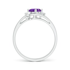 Toggle Split Shank Amethyst Engagement Ring with Wedding Band