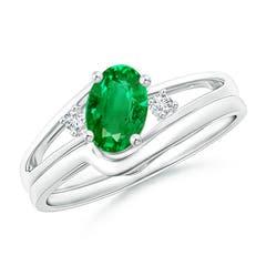 Split Shank Emerald Engagement Ring with Wedding Band