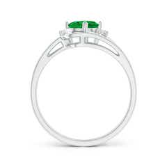 Toggle Split Shank Emerald Engagement Ring with Wedding Band