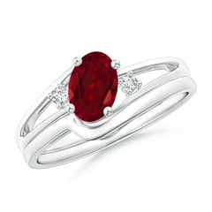Split Shank Garnet Engagement Ring with Wedding Band