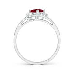 Toggle Split Shank Garnet Engagement Ring with Wedding Band