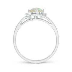 Toggle Split Shank Opal Engagement Ring with Wedding Band