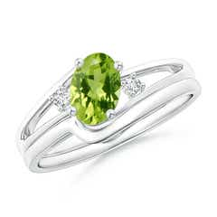 Split Shank Peridot Engagement Ring with Wedding Band