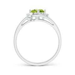 Toggle Split Shank Peridot Engagement Ring with Wedding Band