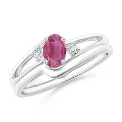 Split Shank Pink Tourmaline Engagement Ring with Wedding Band