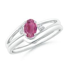 Split Shank Pink Tourmaline Engagement Ring with Wedding Band