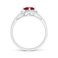 Toggle Split Shank Ruby Engagement Ring with Wedding Band