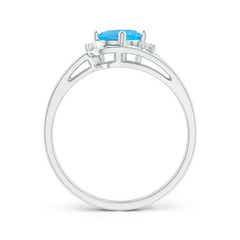Toggle Split Shank Swiss Blue Topaz Engagement Ring with Wedding Band