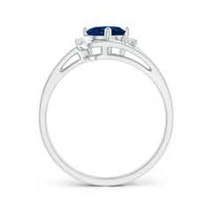 Toggle Split Shank Sapphire Engagement Ring with Wedding Band