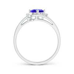 Toggle Split Shank Tanzanite Engagement Ring with Wedding Band