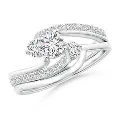 Shared Prong-Set Diamond Three Stone Bypass Bridal Set