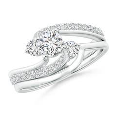 Shared Prong-Set Diamond Three Stone Bypass Bridal Set