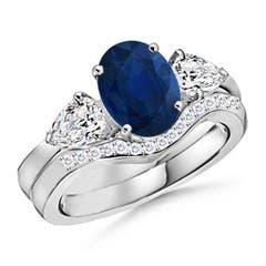Three Stone Sapphire and Diamond Wedding Band Ring Set