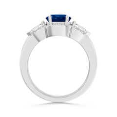 Toggle Three Stone Sapphire and Diamond Wedding Band Ring Set