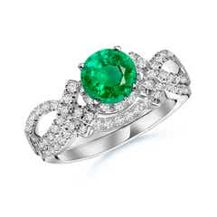 Emerald Engagement Ring With Matching Diamond Band