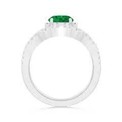 Toggle Emerald Engagement Ring With Matching Diamond Band
