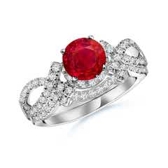 Ruby Engagement Ring With Matching Diamond Band