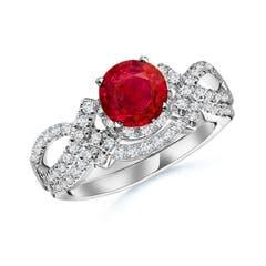 Angara Diamond Framed Ruby Split Shank Engagement Ring in Platinum n9F2Hlb