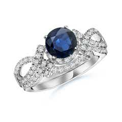 Sapphire Engagement Ring With Matching Diamond Band