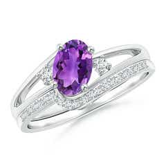 Oval Amethyst and Diamond Wedding Band Ring Set