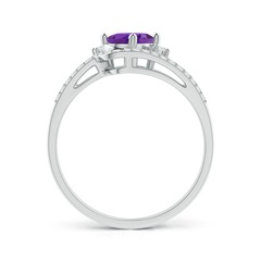 Toggle Oval Amethyst and Diamond Wedding Band Ring Set
