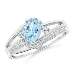 Oval Aquamarine and Diamond Wedding Band Ring Set