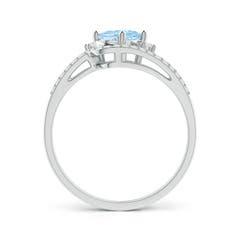 Toggle Oval Aquamarine and Diamond Wedding Band Ring Set