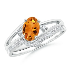 Oval Citrine and Diamond Wedding Band Ring Set