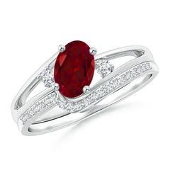Oval Garnet and Diamond Wedding Band Ring Set