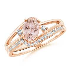 Oval Morganite and Diamond Wedding Band Ring Set