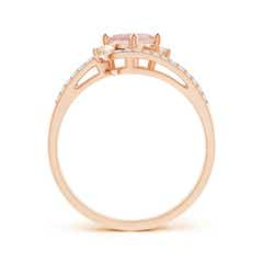 Toggle Oval Morganite and Diamond Wedding Band Ring Set