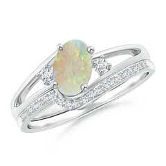Oval Opal and Diamond Wedding Band Ring Set