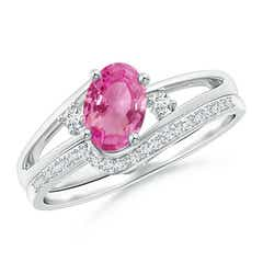 Oval Pink Sapphire and Diamond Wedding Band Ring Set