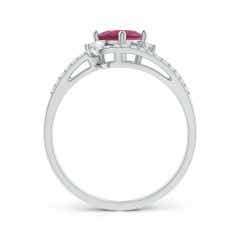 Toggle Oval Pink Tourmaline and Diamond Wedding Band Ring Set