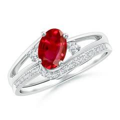 Oval Ruby and Diamond Wedding Band Ring Set