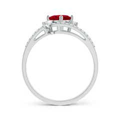 Toggle Oval Ruby and Diamond Wedding Band Ring Set