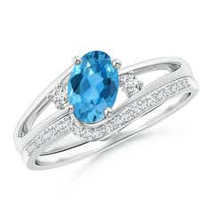 Oval Swiss Blue Topaz and Diamond Wedding Band Ring Set