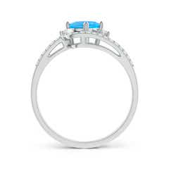 Toggle Oval Swiss Blue Topaz and Diamond Wedding Band Ring Set