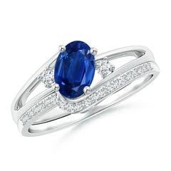 Oval Blue Sapphire and Diamond Wedding Band Ring Set